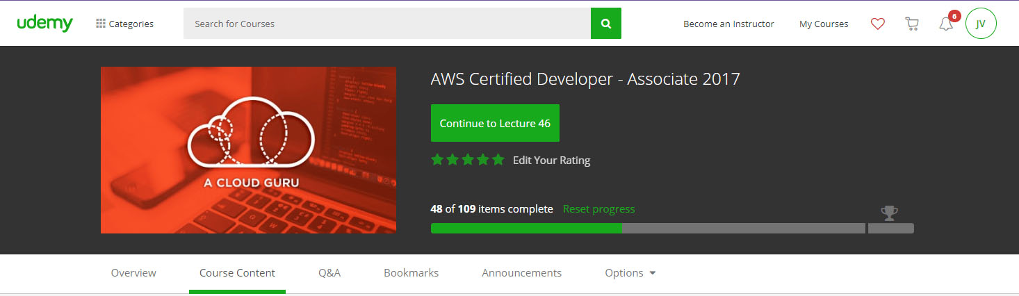 Jesse Velez is studying to get Amazon Web Services Certified Developer Training